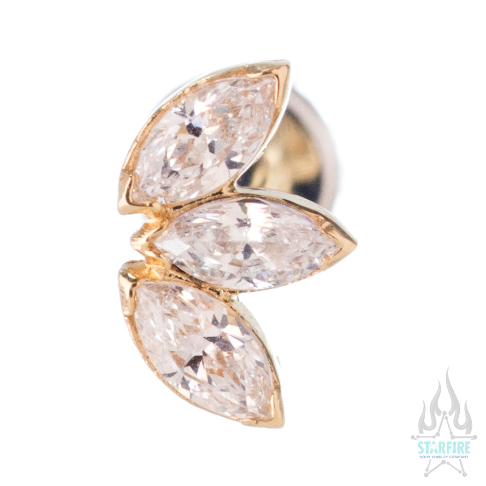 Marquise Fan in Gold with Brilliant-Cut Gems - on flatback