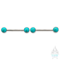 Natural Stone Cabochon Side-Set Nipple Barbells in Bezel's - pair