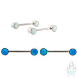 Opal Cabochon Side-Set Nipple Barbells in Bezel's - pair