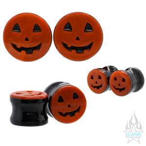 Jack-o'-Lantern Face Glass Plugs