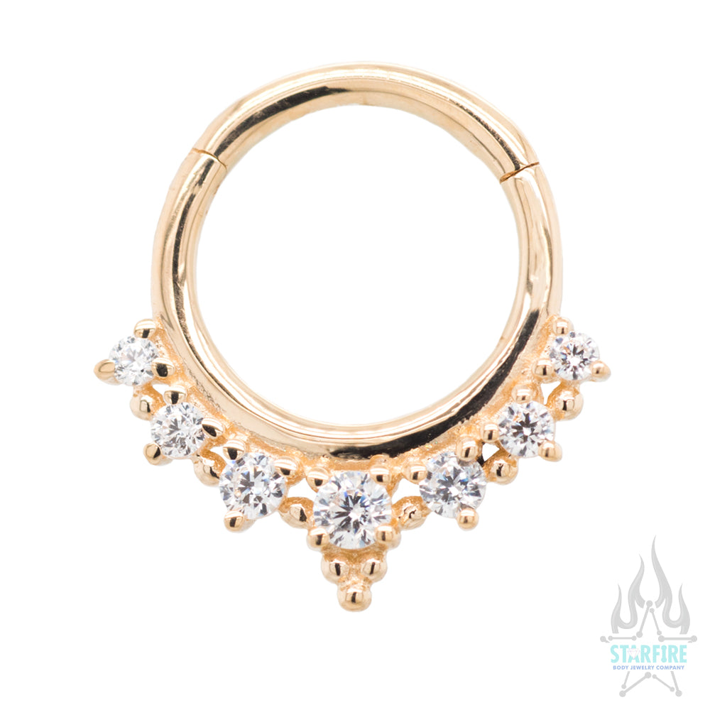 """Lala"" Hinge Ring / Clicker in Gold with CZ's"