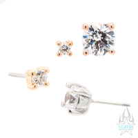 threadless: Prong-Set White CZ End in Gold