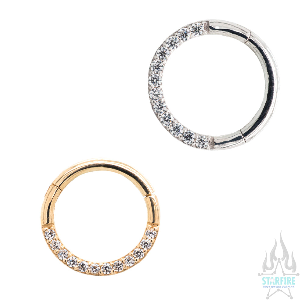 """Dia"" Hinge Ring / Clicker in Gold with CZ's"