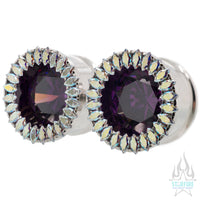 Super Marquise Plugs ( Eyelets ) with Amethyst CZ & Aurora CZ's - custom color combos