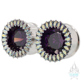 Super Marquise BIG BLING Plugs (Eyelets) with Amethyst CZ & Aurora CZ's - custom color combos