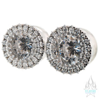 Super Marquise Plugs ( Eyelets ) with Brilliant-Cut Gems - White CZ
