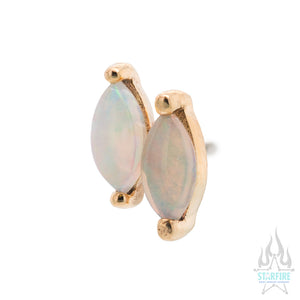 "threadless: ""Double Zuri"" End in Gold with Marquise Genuine Opal"
