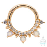 """Gigi"" Hinge Ring / Clicker in Gold with Genuine Opals & White CZ's"