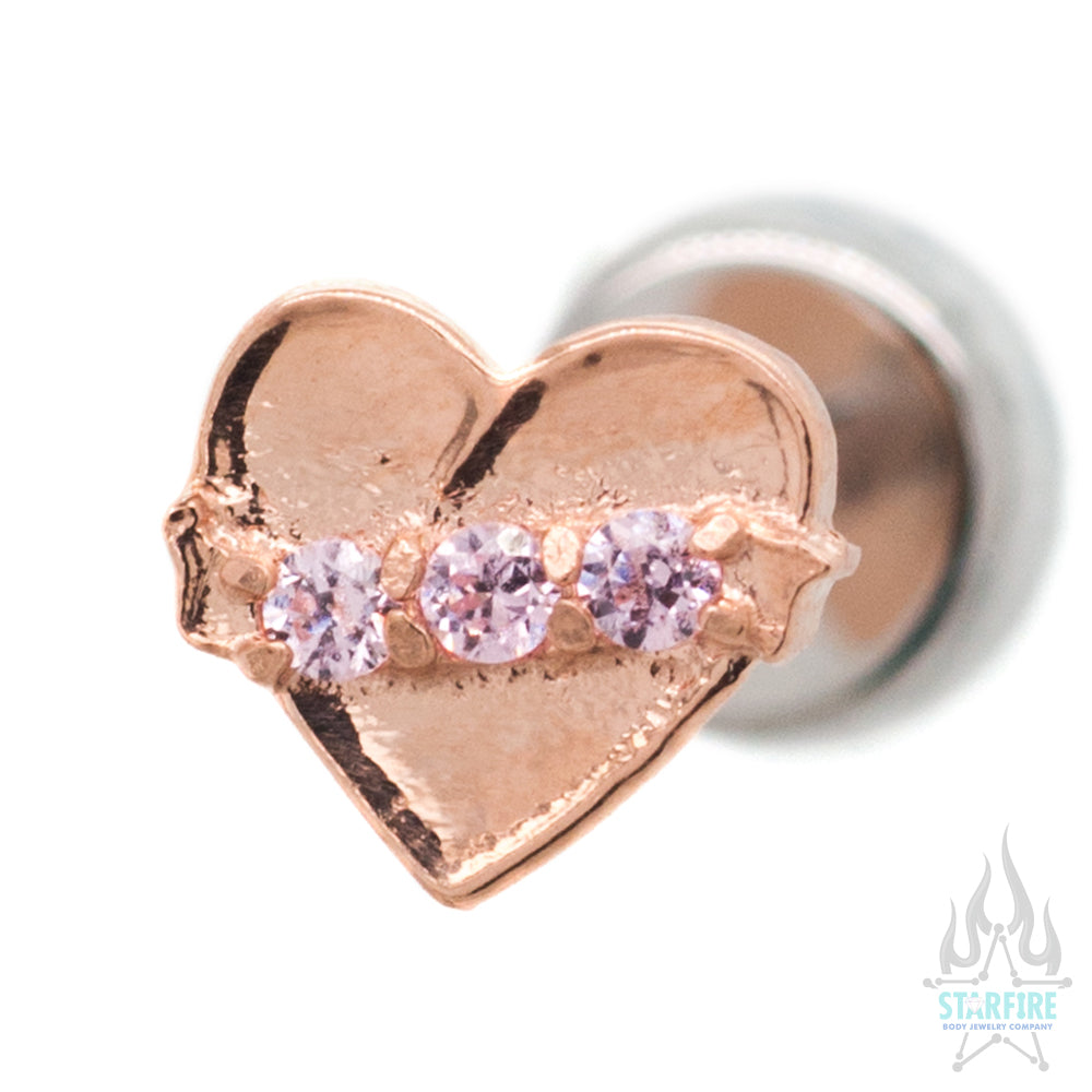 Banner Heart in Rose Gold with Brilliant Cut Gems - on flatback