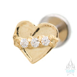Banner Heart in Yellow Gold with Brilliant Cut Gems - on flatback