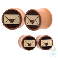 Love Letter Wood Inlay Plugs