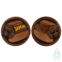 Hot Dog / Wiener Dog Wood Inlay Plugs