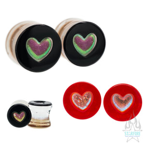 Heart Dichroic Glass Plugs