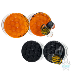 Honeycomb Texture Glass Plugs with 1 Bee