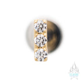 3 Gem Bar Prong-Set Brilliant-Cut Gems in Yellow Gold - on flatback