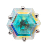 Hexagon Prong-Set Mercury Mist Topaz in Gold - on flatback