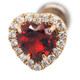 """Heart Altura"" in Gold with Genuine Garnet & White CZ's - on flatback"