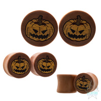 Spooky Pumpkin Wood Inlay Plugs