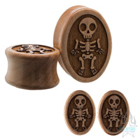 Mini Skeleton Wood Oval Plugs