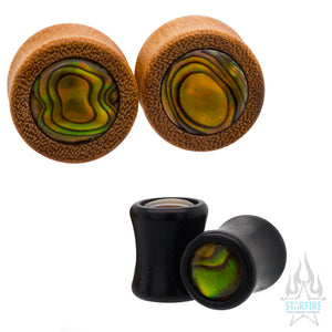 Paua Inlay Wood Plugs