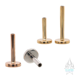 Gold Threaded Labret Post / Flatback / Straight Barbell End with Fixed Disc - Standard Line