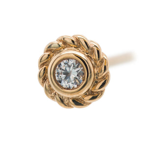 """Choctaw"" Nostril Screw in Gold with White CZ"