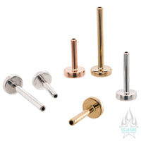 threadless: Gold Labret Post / Flatback / Straight Barbell End with Fixed Disc - Standard Line