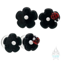 Flower Sculpted Glass Plugs with 1 Ladybug