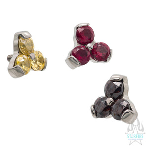 2mm Trinity (Menage a Trois) Faceted Gem Separate Threaded End