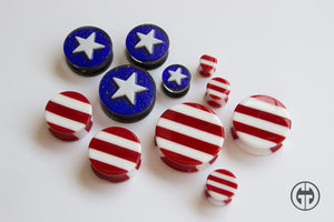 Glass Flag Plugs - 'Merica