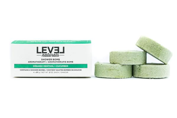 Level Naturals Organic Menthol + Cucumber Shower Bombs