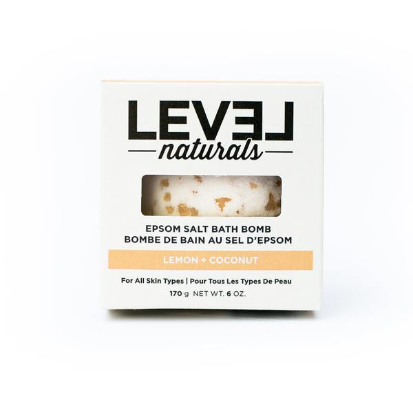 Level Naturals Lemon + Coconut Epsom Salt Bath Bomb