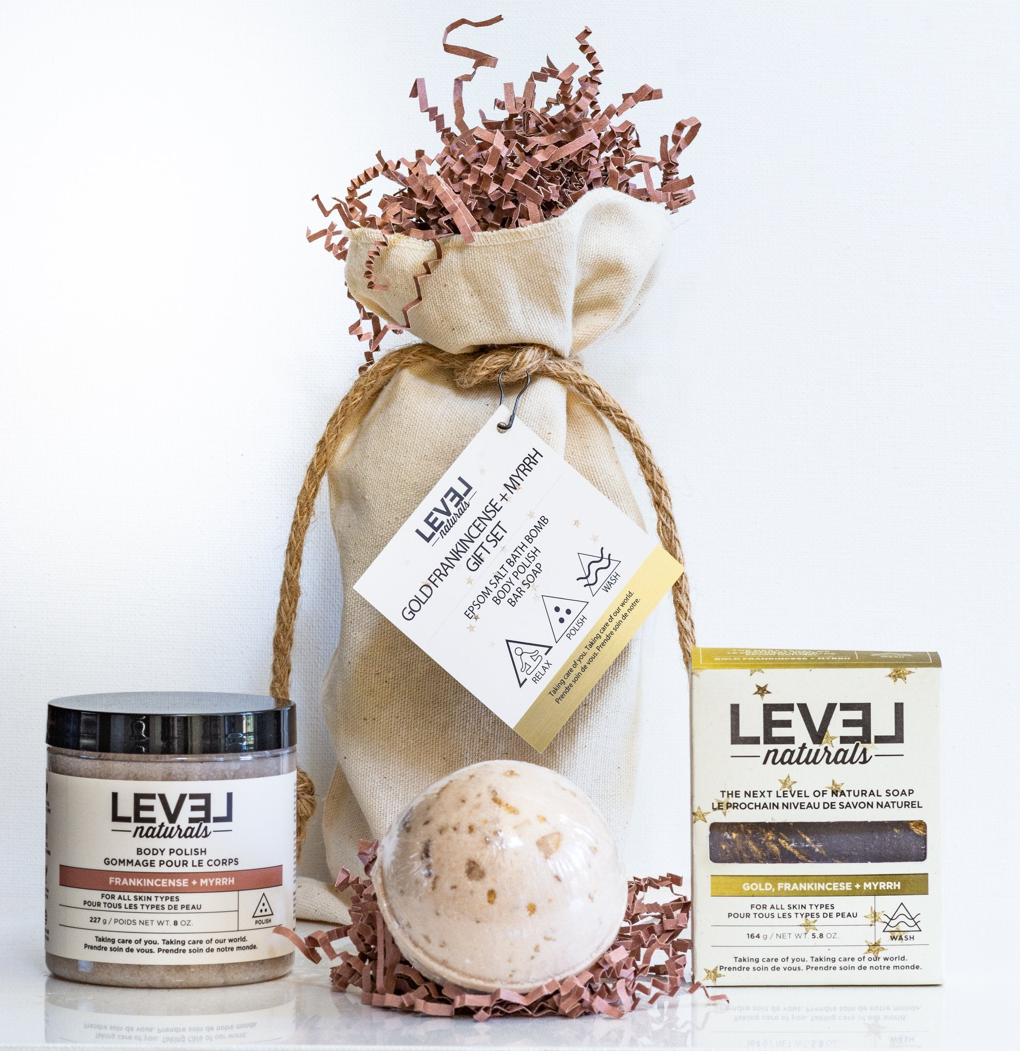 Level Naturals Gold Frankincense + Myrrh 3-Piece Gift Set