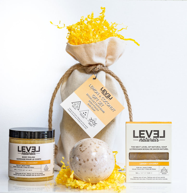 Level Naturals Lemon + Coconut 3-Piece Gift Set