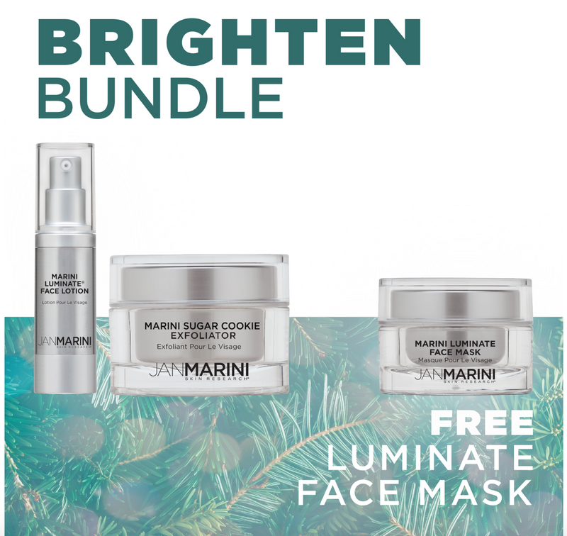 Jan Marini Holiday Brighten Bundle (Sugar Cookie Exfoliator, Luminate Face Lotion, and FREE Luminate Face Mask)