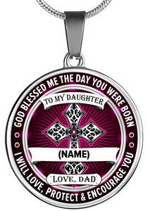 """God Blessed Me The Day You Were Born"" Personalized Pendant (Silver)"