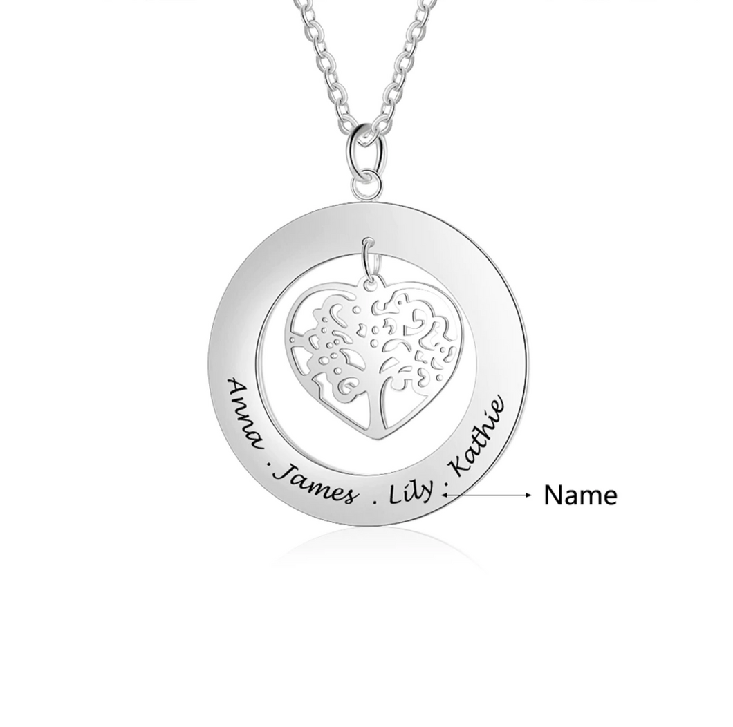 Personalized Heart Shaped Tree of Life Necklace