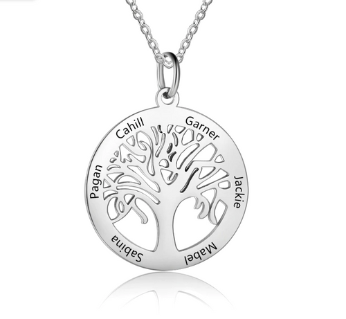 Personalized Tree of Life Pendant Necklace