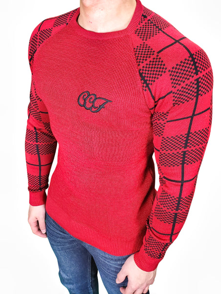 CE & CE PLAID ARMS SWEATER