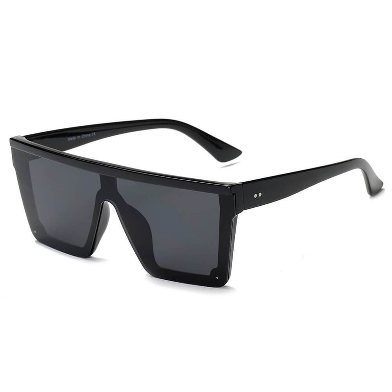 GUELPH | S2069 - Flat Top Square Oversize Fashion Sunglasses - Black | HERS.BOUTIQUE