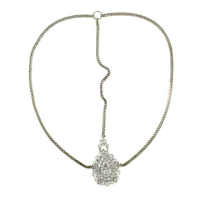 Crusted Medallion Chain Headpiece - Silver | HERS.BOUTIQUE