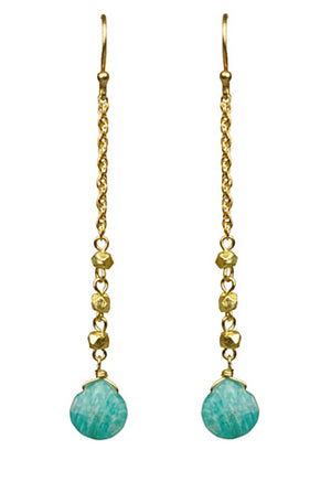 Amazonite Linear Drop Earrings - turquoise | HERS.BOUTIQUE