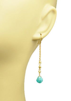 Amazonite Linear Drop Earrings -  | HERS.BOUTIQUE