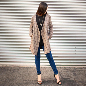 Oversized Open Front Checkered Jacket -  | HERS.BOUTIQUE