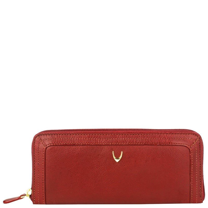Cerys Zip Around Leather Wallet - Red | HERS.BOUTIQUE