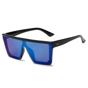 GUELPH | S2069 - Flat Top Square Oversize Fashion Sunglasses - Blue | HERS.BOUTIQUE