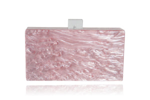 Mother of Pearl Acrylic Box Clutch - Pink | HERS.BOUTIQUE