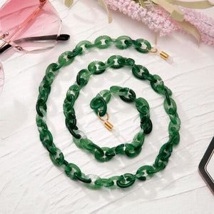 Bond Glasses & Mask Chain - Grass Green | HERS.BOUTIQUE
