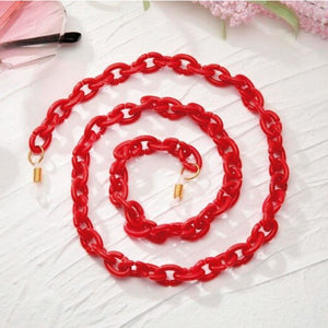 Bond Glasses & Mask Chain - Red | HERS.BOUTIQUE