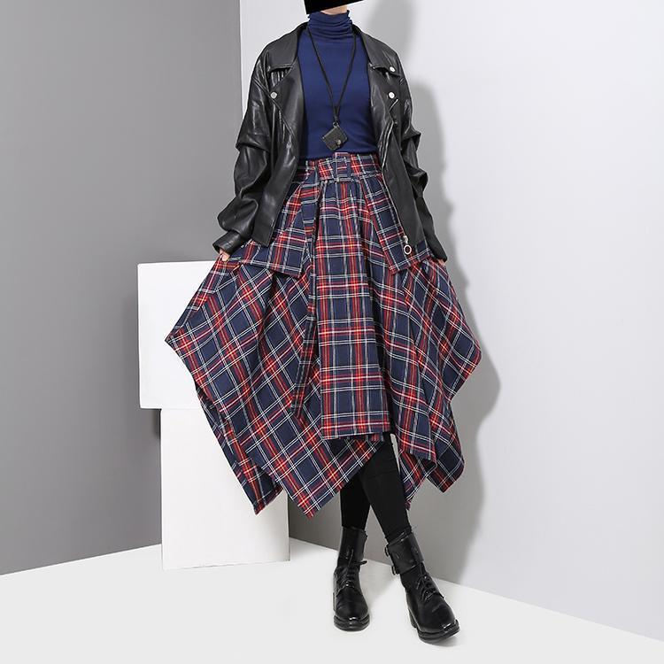 Aitana Plaid Picnic Skirt - Navy -  | HERS.BOUTIQUE